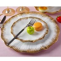 Western style Ceramic Bone China Gold Lace Spaghetti Plate Household Creative Dinnerware Garden Pastry Cake Dish Dessert Saucers