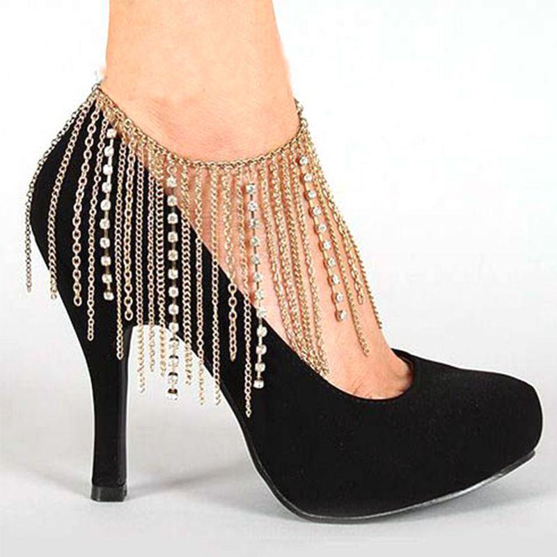 High Heels Chain Tassel Women Anklet Shoes Decoration Rhinestone Fashion Luxury Attractive Wedding Bridal Accessories Party
