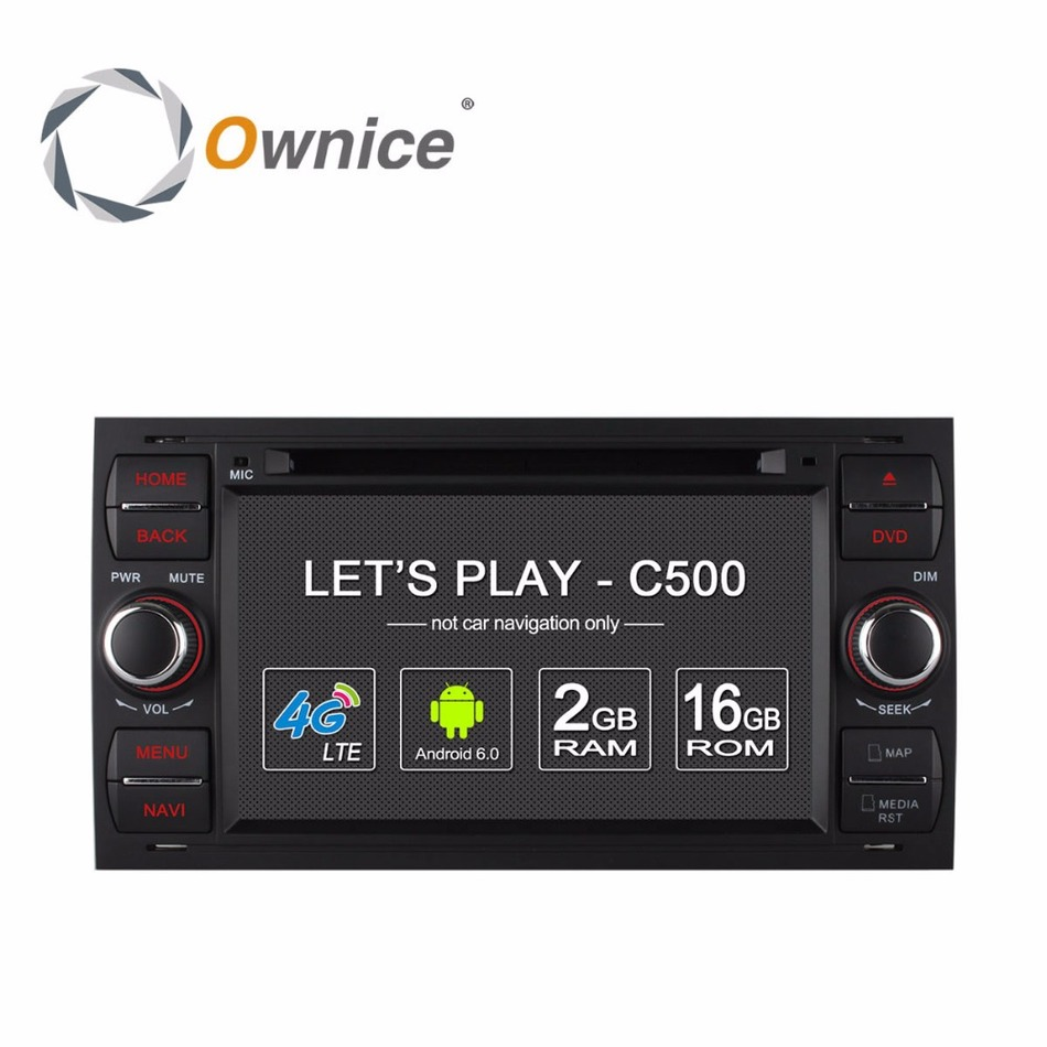 Ownice C500 2 Din Android 6.0 Quad Core Car DVD Player GPS For Ford Focus Galaxy Fiesta S Max C Max Fusion Transit Kuga 4G LTE