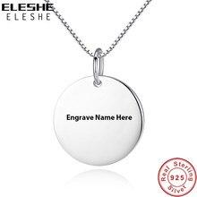 df4e18856492 ELESHE nuevo personalizado forma redonda collar grabado nombre COLLAR COLGANTE  redondo de Plata de Ley 925 joyas de plata para l.
