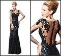 Robe De Soirée 2015 Supernova Venda Preto Longo Das Mulheres da Noite vestido Sexy Vestido Até O Chão Sequined Lace Mangas Compridas vestidos de Baile vestidos