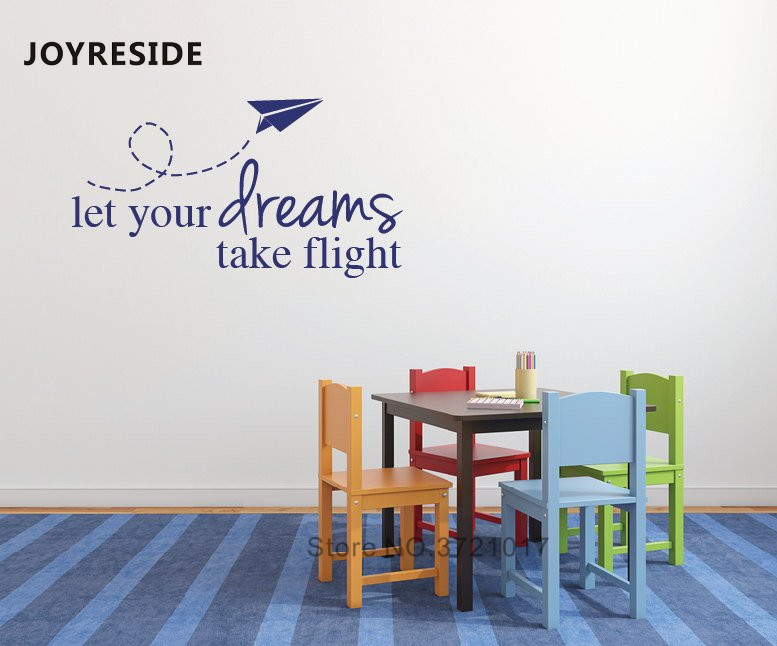 Toys Airplane Flying Wall Decal Kids Boys Room Playroom Wall Sticker Art Design Let Your Dreams Take Flight Quotes Mural M169 image