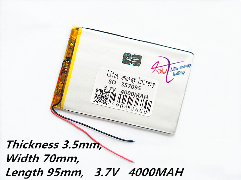 3.7V 4000mah (polymer lithium ion battery) Li-ion battery for tablet pc 7 inch MP3 MP4 [357095] Free Shipping taipower onda 8 inch 9 inch tablet pc battery 3 7v 6000mah 3 wire 2 wire lithium battery