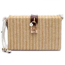 купить DCOS Summer Beach Handbags Women Messenger Bags Square Straw Hand Woven Ladies Crossbody Bag Shoulder Bags дешево