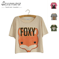 2016 New Summer Fox Mega Geek Letter Loose Cotton Print Short Sleeve Crop Tops Femme Casual Harajuku T Shirt Women CV58