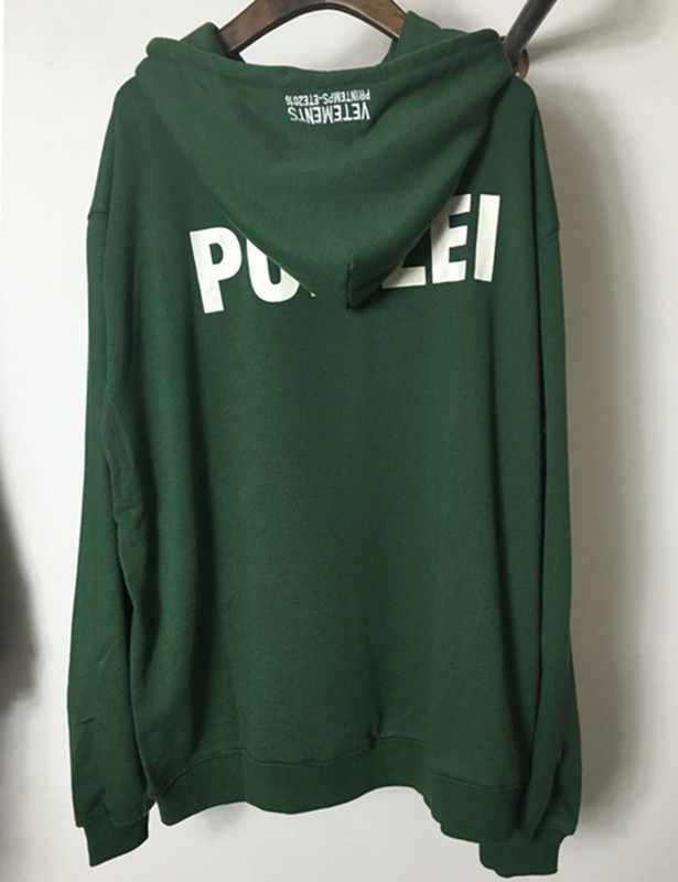 2017 Толстовка moleton masculino зеленый Polizei 16ss толстовки с капюшоном и вышивкой с буквенным принтом, мужские, женские в стиле хип-хоп толстовки одежда городская молодежная одежда
