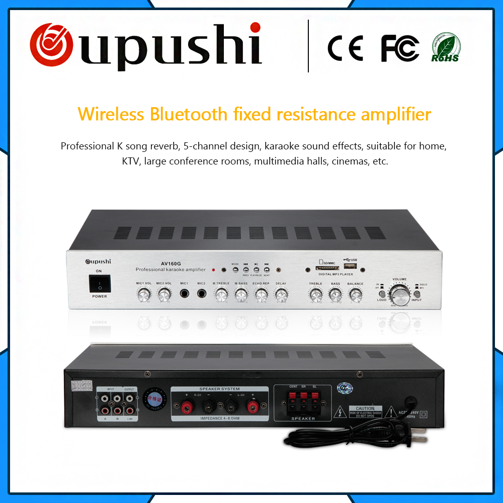 Oupushi AV160G Hifi Stéréo Audio Amplificateur Maison Karaoké amplificateur Avec Bluetooth 5.1