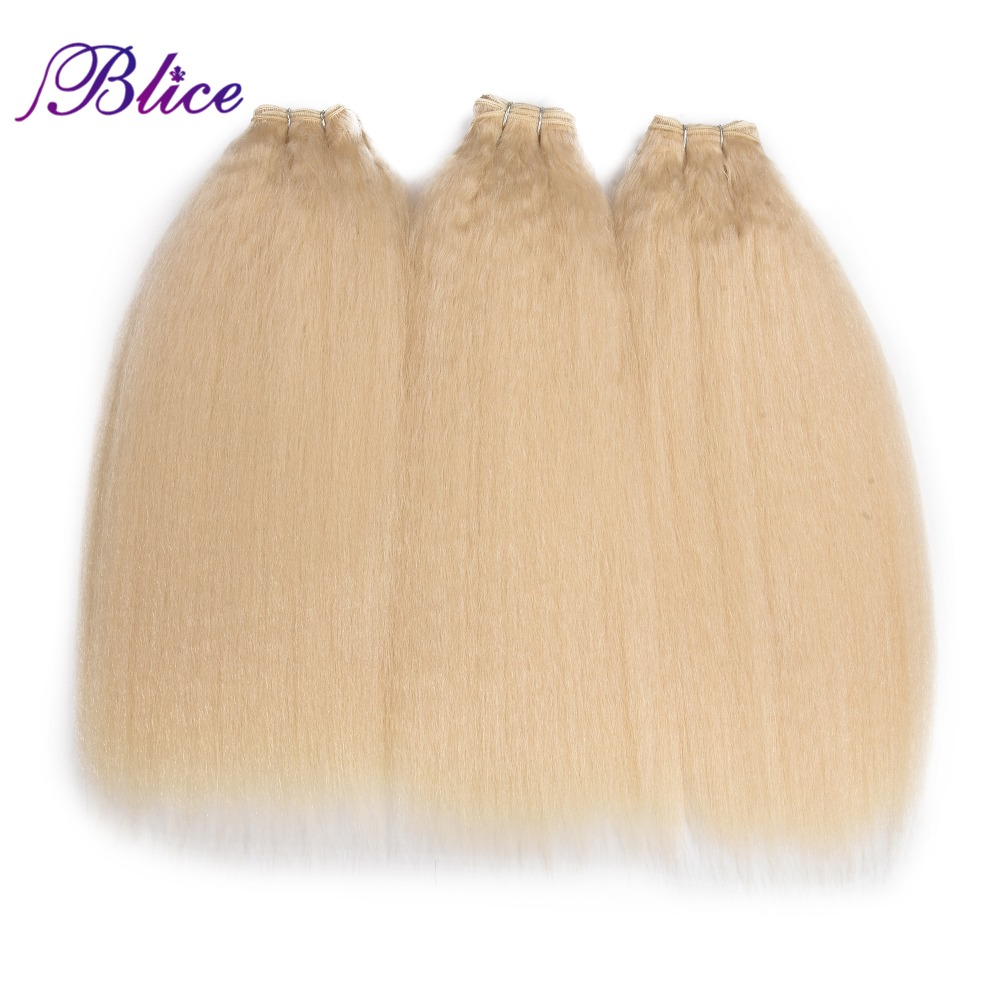 Blice Synthetic Hair Extension Kinky Straight Weaving Pure Color Hair Wave 3Pieces/lot Hair Bundles For Women