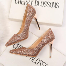 New women's shoes high-heeled shallow mouth pointed flashing sequins sexy thin nightclub women's high-heeled shoes women's shoes стоимость