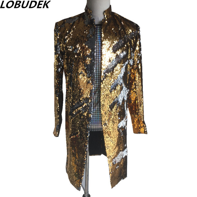 gold green sequins Men's long Jacket Prom Party Fashion Slim Blazers Outerwear Nightclub Bar singer stage performance Costumes