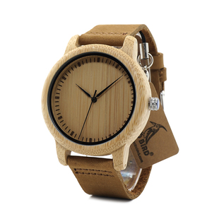 Image 4 - BOBO ptak WA15RU dorywczo antyczne okrągłe bambusa drewniane zegarek dla mężczyzn ze skórzanym paskiem pani zegarki Top marka luksusowe OEM