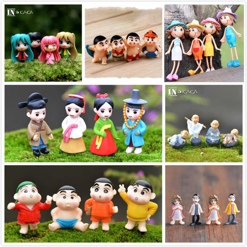 4-Pack Mini Dolls People Model Figures Micro Landscape Fairy Garden Gnomes Dollhouse Figurine Ornaments Decoration Miniature DIY