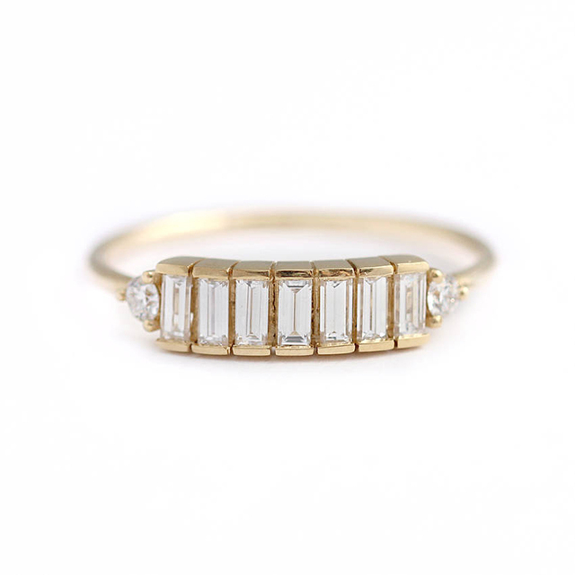 14K Yellow Gold 7pcs Emerald Moissanite  Engagement Baguette Ring Band Total 0.9ctw lab Diamond Solitaire Wedding for Women