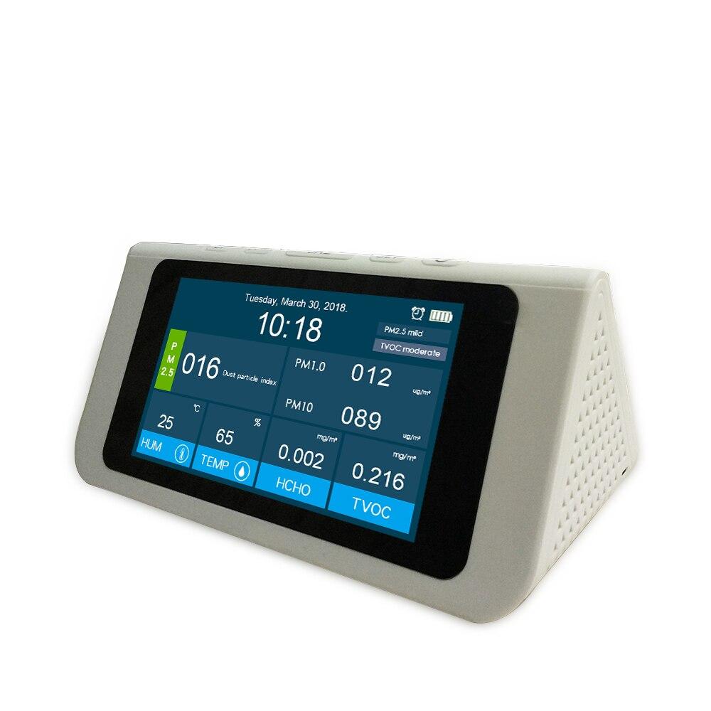 Moniteur professionnel de qualité de l'air PM2.5 détecteur PM1.0 PM10 HCHO covt AQI testeur LCD thermomètre hygromètre calendrier réveil - 5