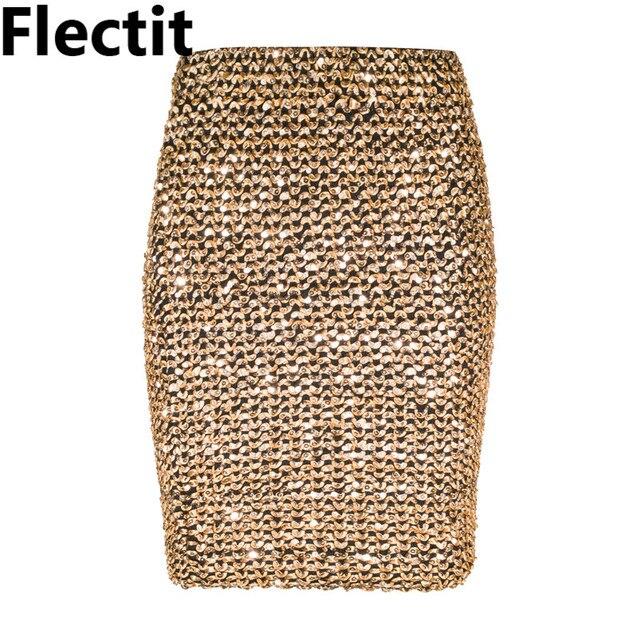 Flectit Frauen Röcke Gold Pailletten Mini Rock Bodycon Bleistift Rock Kurz Wrap Rock für Büro Dame Party Mädchen Saia