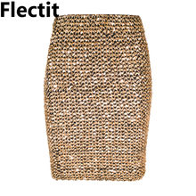 Flectit Womens Skirts Gold Sequined Mini Skirt Bodycon Pencil Skirt Short Wrap Skirt for Office Lady Party Girl Saia(China)