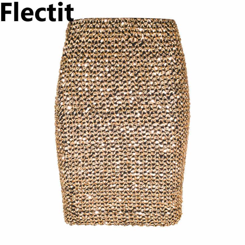 Flectit femmes jupes or paillettes Mini jupe moulante jupe crayon jupe portefeuille courte pour bureau dame fête fille Saia