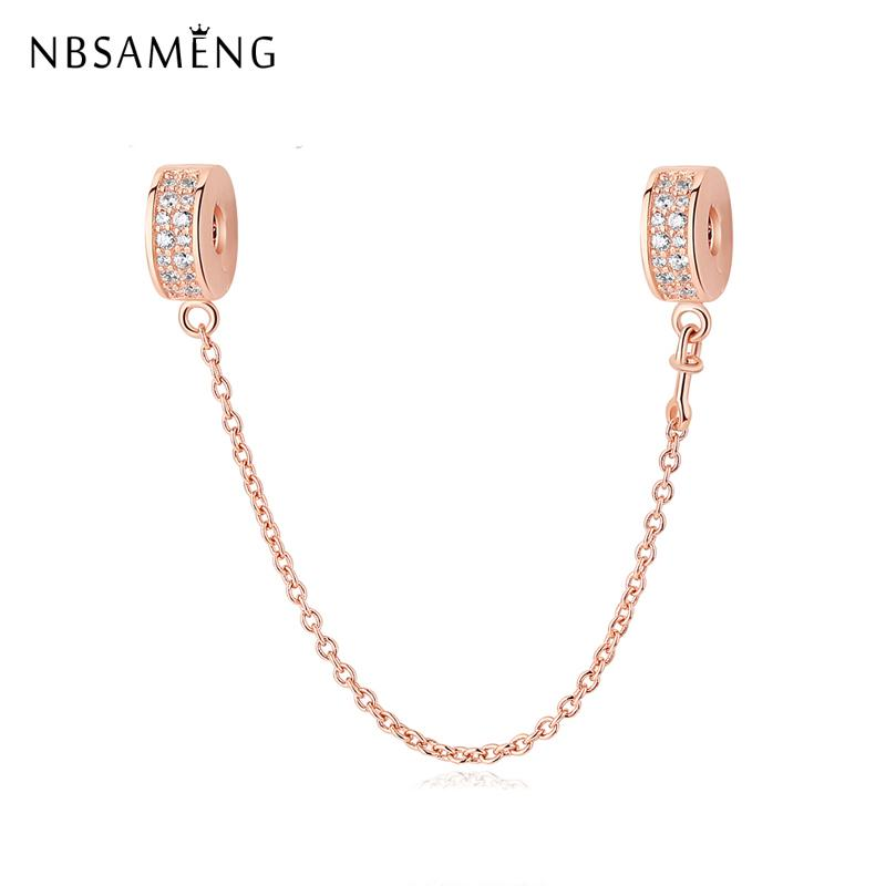 Authentic 100% 925 Sterling Silver Cystal Rose Shining Elegance Safety Chain Beads Charm Fit Pandora Bracelets DIY Women Jewelry