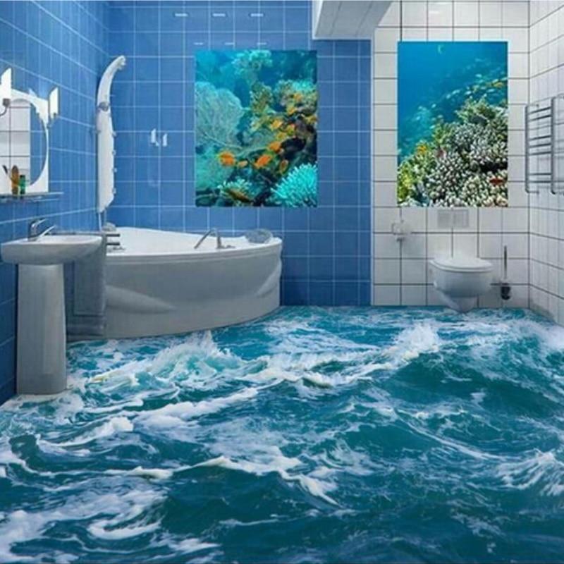Custom 3D Floor Mural Wallpaper Sea Water Wave Bathroom 3D Floor Mural PVC Waterproof Self