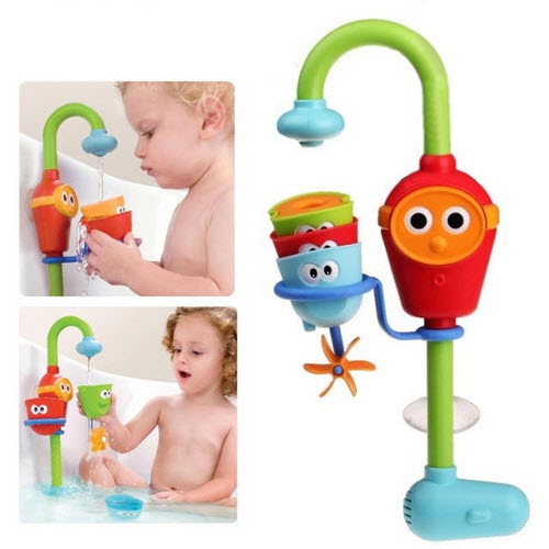 2016 Multicolore Caldo Divertimento giocattoli da bagno Bambino automatico becco giocare rubinetti/speronato pieghevole spruzzo docce giocattolo rubinetto giocare con acqua
