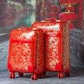 Красный жениться vintage камера тележки чемодан универсальные диски дорожная сумка коробка багажа, женщина вышла замуж 20 24 искусственная кожа коробка