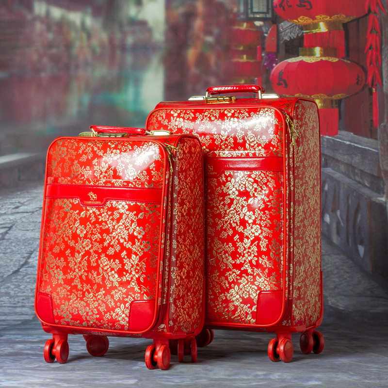Red marry vintage luggage trolley suitcase universal wheels travel bag travel box luggage,female married 20 24 pu leather box