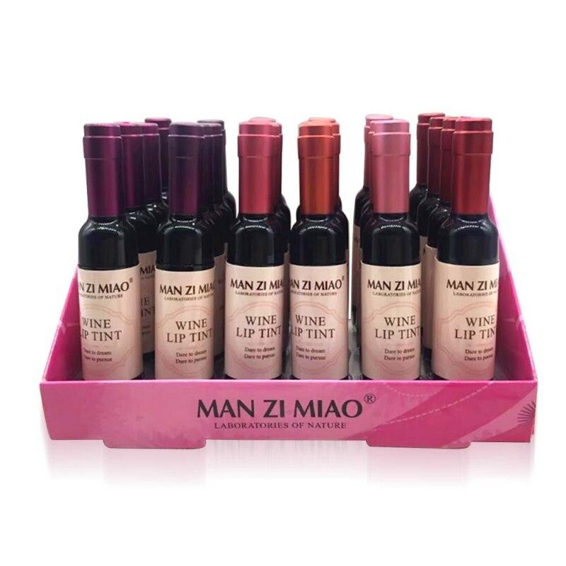 2019 Sexy Waterproof Wine Red Shape Lip Tint Gloss Baby Pink Lip For Women Batom Makeup Liquid Lipstick Lipgloss Cosmetic Tools