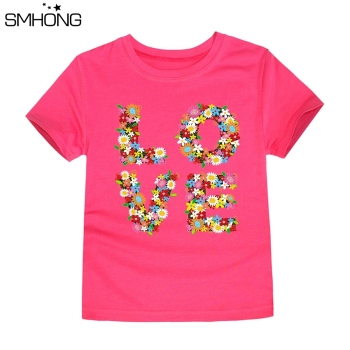 SMHONG 2017 Baby Girls Flower T-shirt Summer Clothing for Girl Kids Tees Children Short Sleeve T shirt 100% cotton Top quality