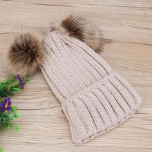 Family matching mother baby girl pom pom knitted beanie cap