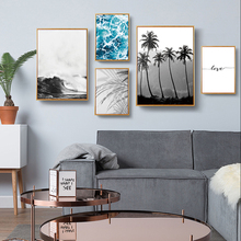 Nordic Plam Tree Leaf Poster Love Quote Black and White Wall Art Sea Canvas Painting Seascape Picture Unframed