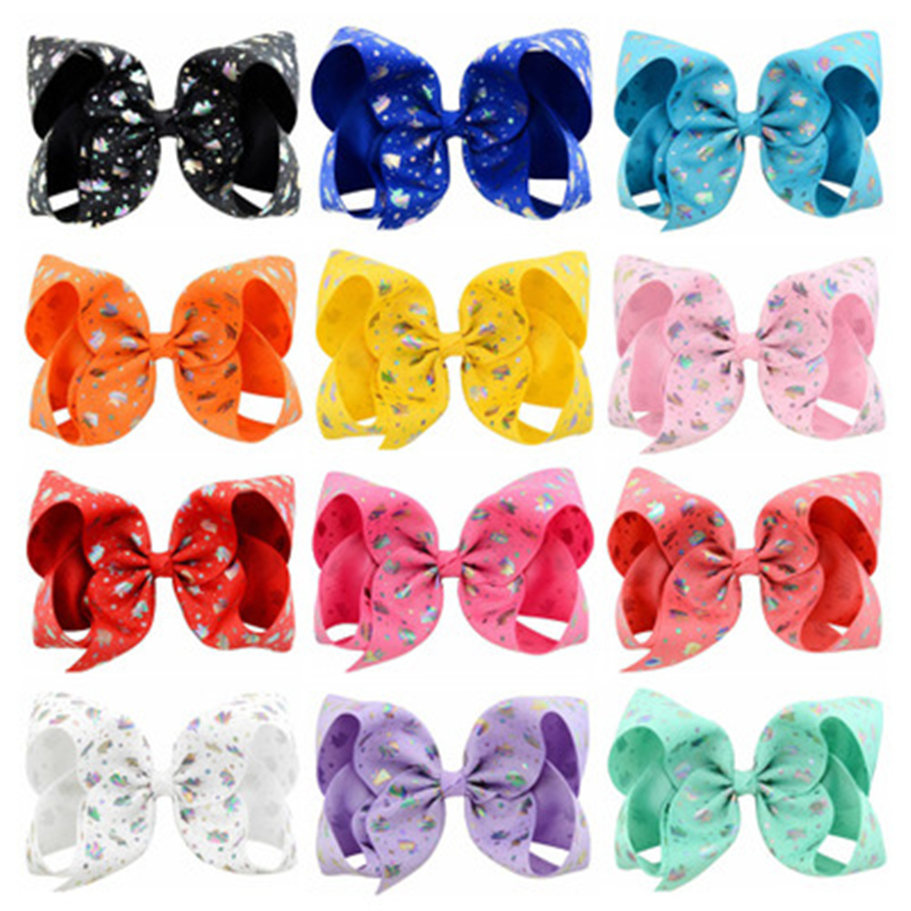 12Pcs/Lot 6 Inch Butterfly Polka Dots Rainbow Hairpin printed Large Bow Clip Big Hair Clip Handmade Hair Accessories For Girls