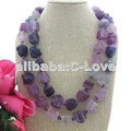 2S Natural 20mm Purple Fluorite Rough Nugget Necklace   free shippment