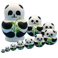Russian nesting doll 10 genuine handmade creative children's toys gifts set pieces of air dried tilia wood panda decoration