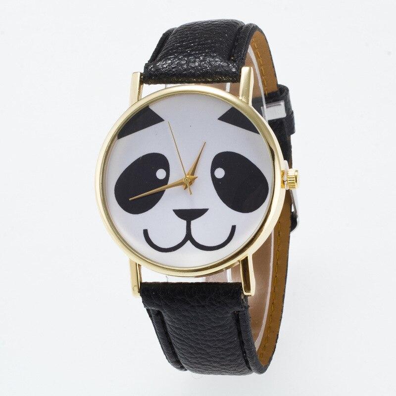 Cute Panda Face Dial Ādas Sieviešu Noskatīties relogio feminino montēt fay bayan kol saati Pulkstenis Taimeris Rokas pulksteņi sievietēm