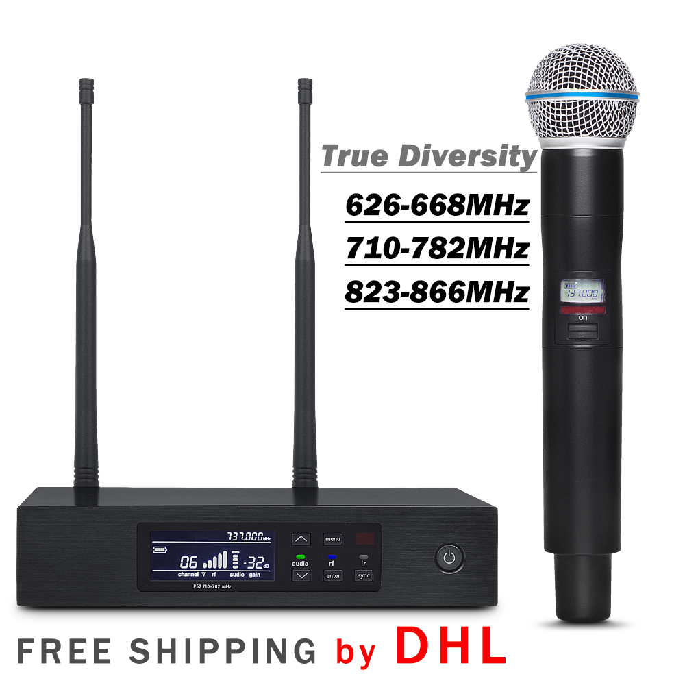 FREE SHIPPING BY DHL True Diversity Professional QLXD UHF Wireless Single Handheld Microphone System with Aluminum