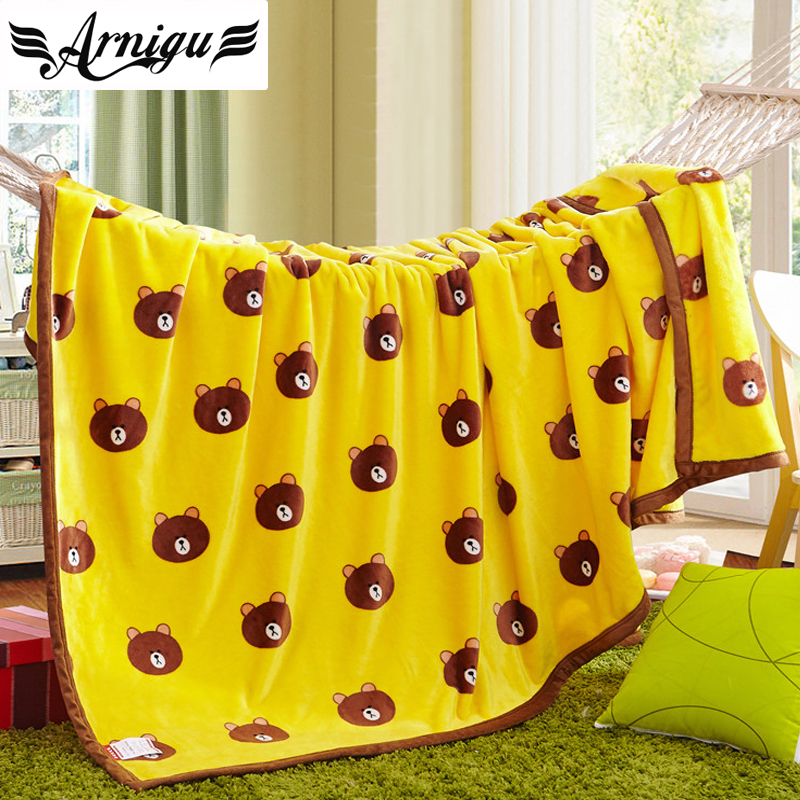 Cartoon style bear printed yellow soft Blankets flannel kids blanket single/Twin/Queen/full size warm Bedsheet sofa Throws 100% coral fleece cartoon flowers flannel blanket on the bed camouflage flannel blanket sofa throw blankets twin full queen size