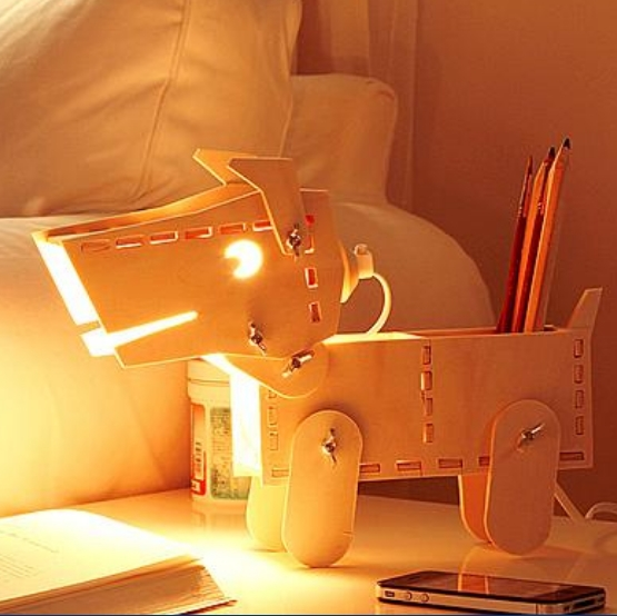 Dimmable table lamp for bedroom DIY wooden puppy Lamp Chidren Gift Lover Present Table Light Pen case Dog Desk lamp