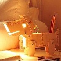 Dimmerabile lampada da tavolo per camera da letto FAI DA TE in legno Lampada cucciolo Chidren Regalo Lover Presente Luce Della Tabella Penna caso Dog Desk lamp