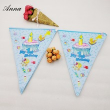 Happy Birthday Flags Party Supplies Baby Banner Shape Cartoon Decoracion