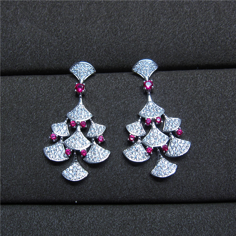 Antique AAA cubic zirconia pave setting skirt shaped red stone drop earrings for women novel accessaries,E7828R