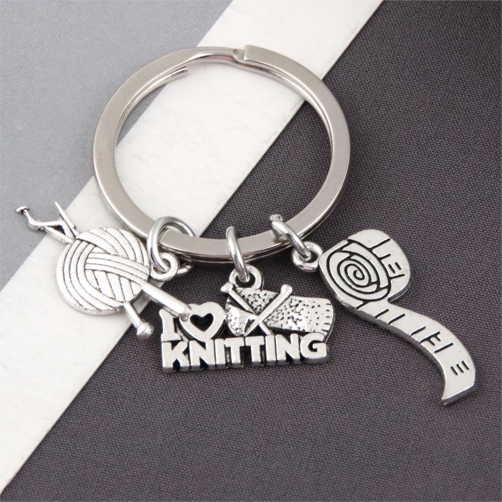 1Pc I Love Knitting And Measuring Ruler Charms Keychain Yarn Ball Knit Crochet Keyholder Dressmaker Mom Gift Jewelry Craft E2598