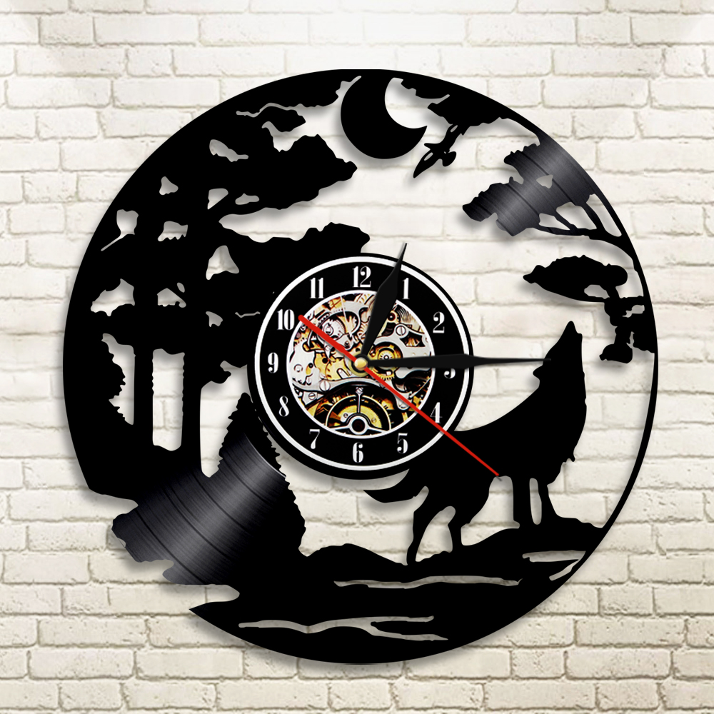 1Piece Wolf LED Silhouette Backlight Animals Vinyl Clock Color Change Atmosphere Cool Living Room Interior Decor Wall Art