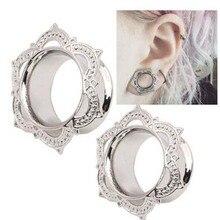 1 Piece New Women Men Flower Flared Flesh Tunnel Ear Plugs Copper Ear Expander Gauge Body Piercing Jewelry Orelha Cartilagem