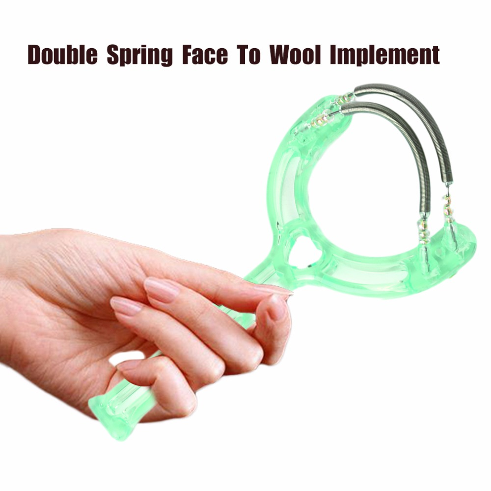 Queenie's Magical Island Store Super Lightweight Double Springs Handheld Facial Hair Epicare Epilator Safety Face Roller Hair Remover Removal Tools Green