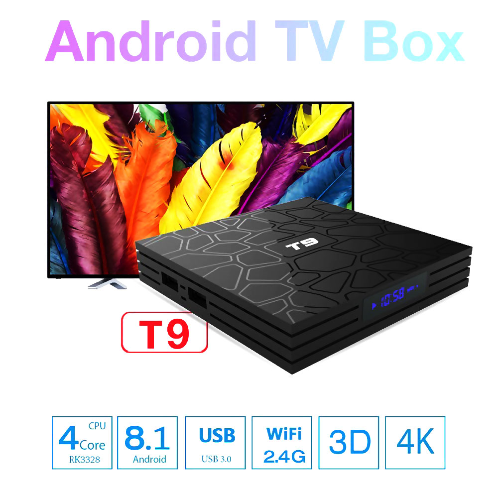 T9 Android 8 1 Bluetooth Rockchip RK3328 4GB RAM 32GB Support 2 4GHz WiFi HD 4K