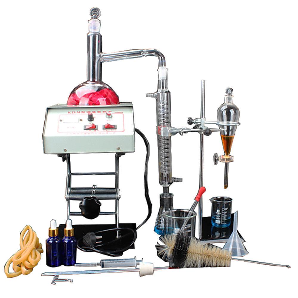 23 piezas nuevos aparatos de destilación de laboratorio de 1000ml Kits de destilador de agua pura de aceite esencial con calentador de termostato de almacenamiento caja