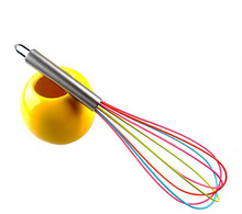 12-inch NEW Colorful Rainbow Silicone Whisk Splash Apollo 30.5cm Simple Hand-held Portable Egg Pumping