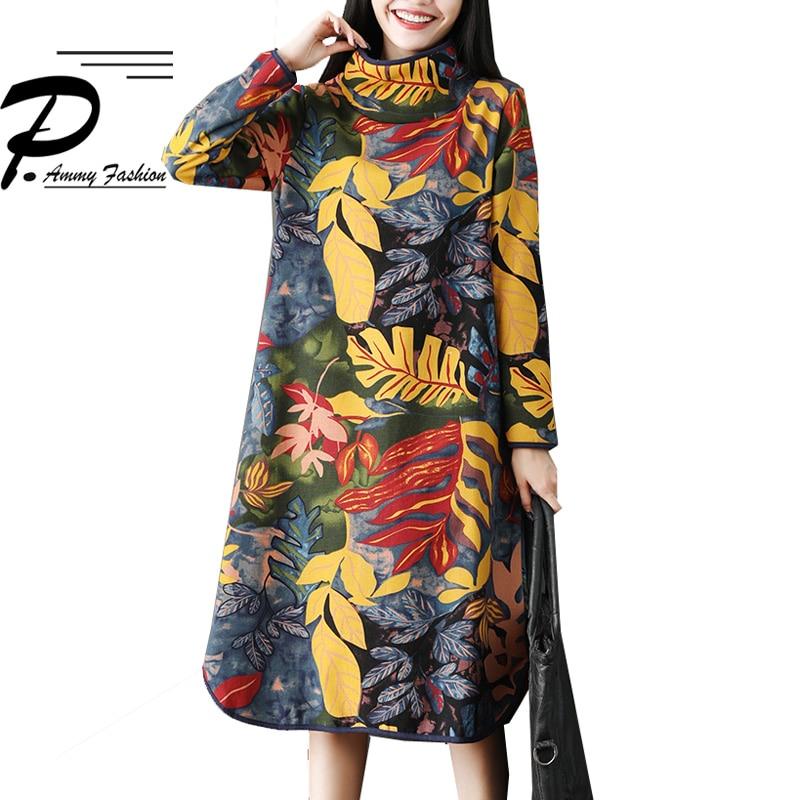 Fleece Lining Warm Dress 2018 Turtleneck Thicken Jumper Floral Print A-Line Dress 2018 Ladies Winter Long Sleeve Tunic Pullover