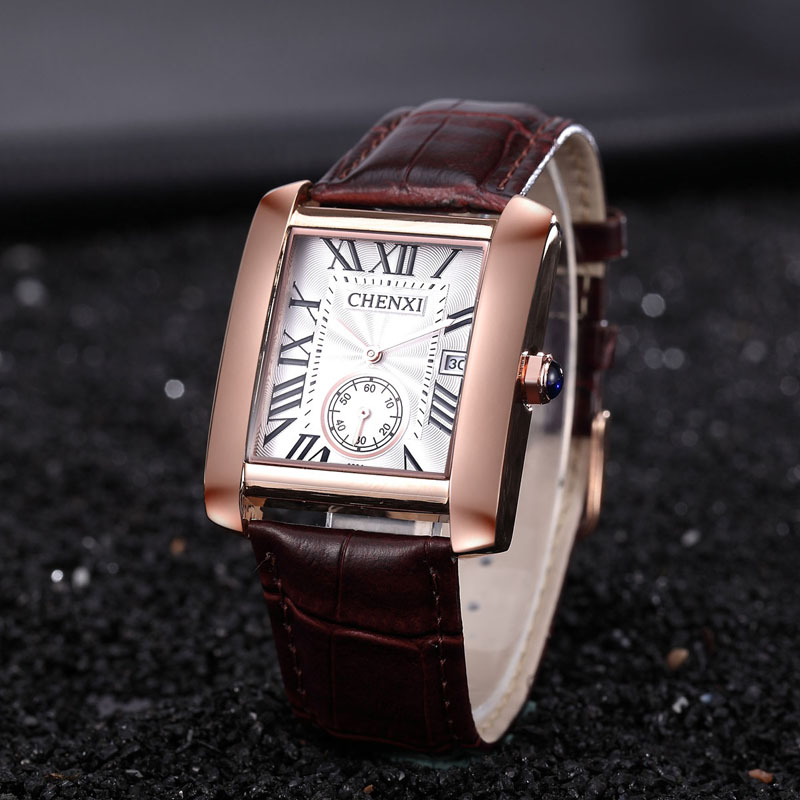 CHENXI Classic Design Rectangular top Luxury Brand Fashion Leather Watches Man Calendar Quartz Gold Wristwatch relogio
