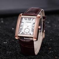 CHENXI Classic Design Rectangular top Luxury Brand Fashion Leather Watches Man Calendar Quartz Gold Wristwatch relogio Masculino